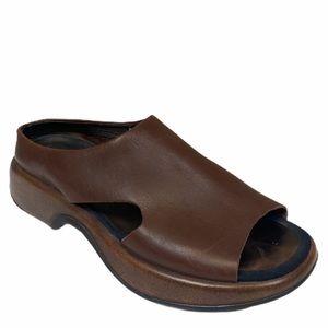 Dansko brown leather slip on slide sandals mules